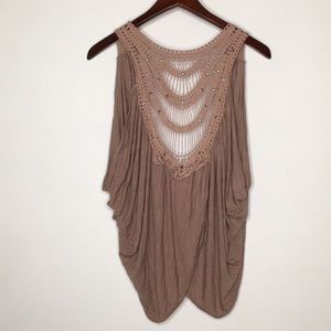 Daytrip Taupe Boho Crochet and Metal Open Vest M